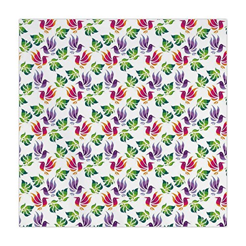 iPrint Satin Square Tablecloth,Japanese,Origami Art Style Inspired Fractal Bird Figures with Exotic Leaf Details Design Decorative,Multicolor,Dining Room Kitchen Table Cloth ()