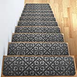 Carpet Stair Treads Set of 13 Non Slip/Skid Rubber Runner Mats or Rug Tread - Indoor Outdoor Pet Dog Stair Treads Pads - Non-Slip Stairway Carpet Rugs (Gray) 8' x 30' Includes Adhesive Tape