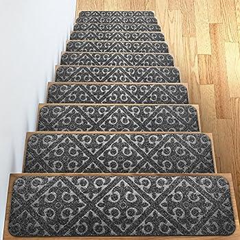 Carpet Stair Treads Set Of 13 Non Slip Skid Rubber Runner