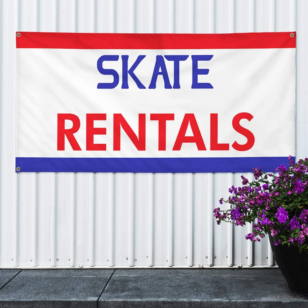 Multiple Sizes Available 4 Grommets Set of 3 24inx60in Vinyl Banner Sign Skate Rentals Business Banners Outdoor Marketing Advertising White