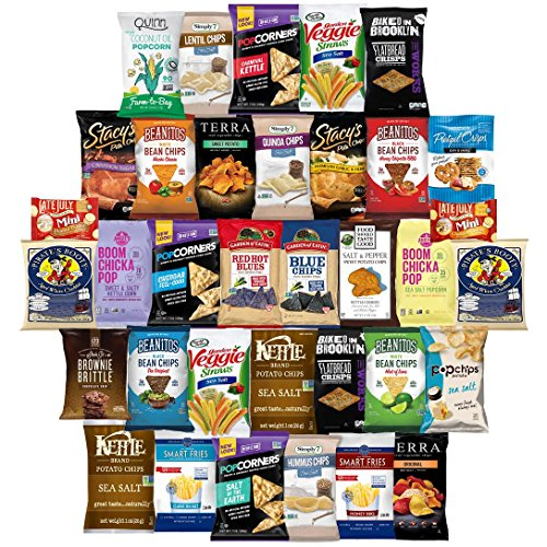 Healthy Chips Care Package Variety Pack Bulk Sampler Includes Simply 7, Kettle, Baked in Brooklyn, Beanitos, Smart Fries, Terra, Popcorners, Boom Chicka Pop, Food Should Taste Good & More (35 Count) (Whole Foods Halloween Cakes)