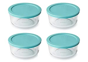 Pyrex Storage 4 Cup Round Dish, Clear with Turquoise Plastic Lids, Pack of 4 Containers