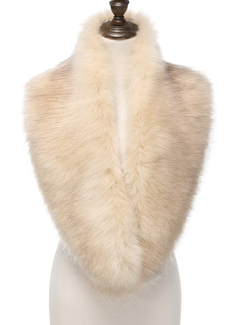 1920s Shawls, Scarves and Evening Jacket Tips Changuan Extra Large Womens Faux Fur Collar Shawl Scarf Wrap Evening Wedding Cape for Winter Coat  AT vintagedancer.com