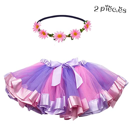 059637bfd2 Amazon.com  Layered Tulle Rainbow Tutu Skirt for Toddler Girls Princess  Dance Dress Up with Daisy Flower Headband (Purple-Pink)  Clothing