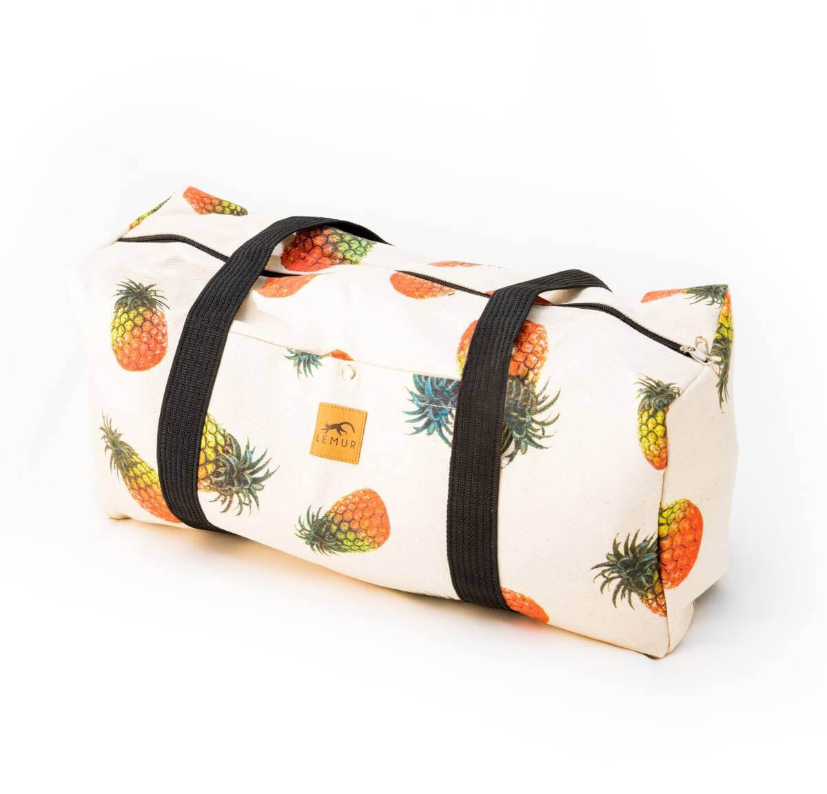 Canvas Duffel Bag - 20 Liter Gym Tote, Foldable Overnight Travel Weekend Luggage by Lemur Bags (Pineapples)