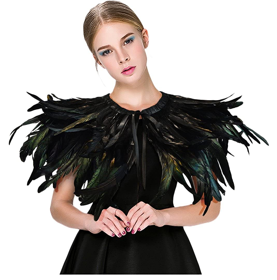 L'vow Black Feather Shrug Cape Shawl Collar Halloween Costumes for Women feather cape