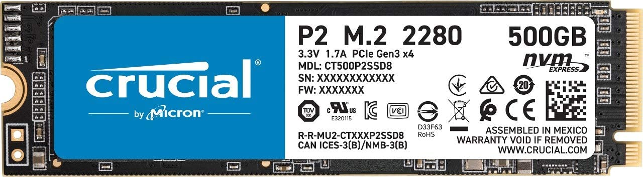 Crucial P2 500GB 3D NAND NVMe PCIe M.2 SSD - CT500P2SSD8