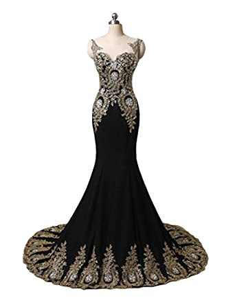Womens 2017 Gold Appliques Bead Mermaid Formal Long Evening Prom Dresses Plus Size at Amazon Womens Clothing store: