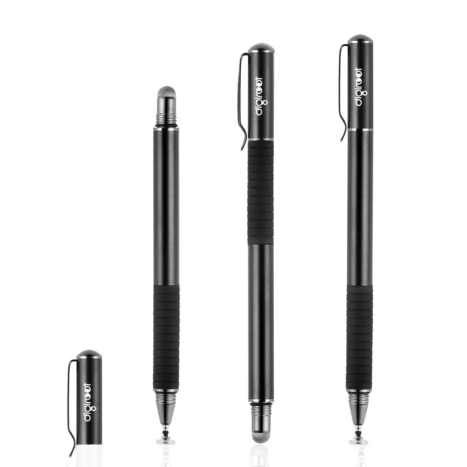Drawing 4 Discs, 2 Fiber Tips Included Digiroot 2-in-1 Precision Stylus Disc Tip With Fiber Tip For Notes-taking 2Pcs Black//Silver Navigation on Touch Screen -