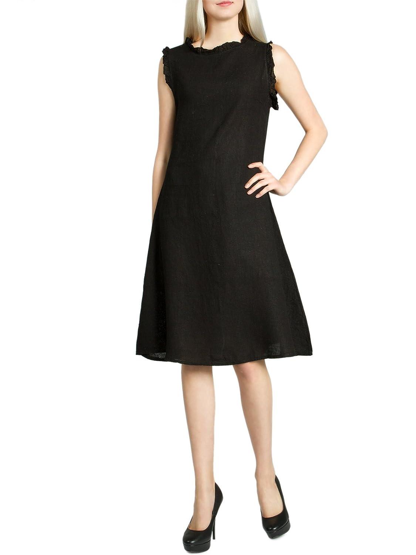 CASPAR SKL012 knielanges leichtes Damen Sommerkleid/Leinenkleid mit kleinem Wellenkragen