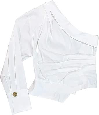 Zara 2224/892/251 - Camiseta asimétrica para Mujer - Marfil - Large: Amazon.es: Ropa y accesorios