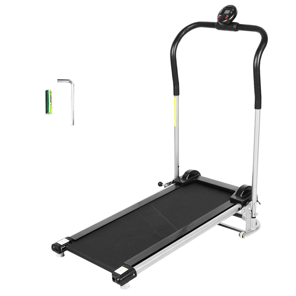 Folding Silent Free Assembly Health Fitness LED Display Treadmill Calories Time Speed Distance Running Machine HB8023