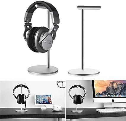 Dual Two Headphone Headset Desk Stand Hanger Display Holder Desktop Rack Metal