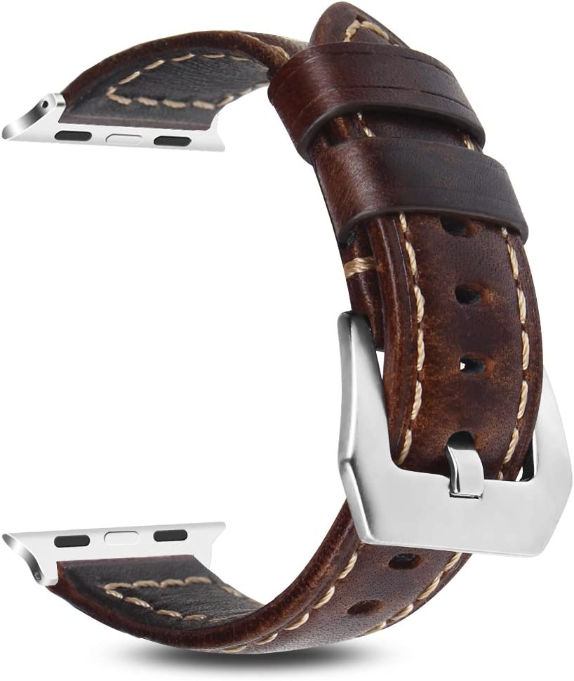 Fintie Band for Apple Watch 44mm 42mm, Genuine Leather Replacement Wrist Strap Compatible with Apple Watch Series 4 Series 3 Series 2 Series 1 - ...