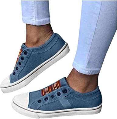 Women Wide Width Canvas Shoes Slip