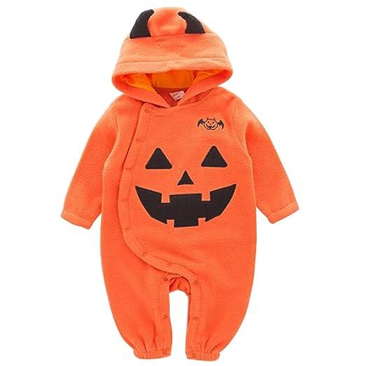 af9e97436 Amazon.com  Newborn Infant Boys Halloween Pumpkin Hooded Romper One ...