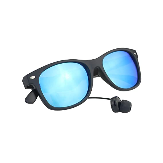 b7b3c475c7 Image Unavailable. Image not available for. Color  Excelvan Wireless  Bluetooth Black Polarized Smart Sunglasses Hands-Free Talk Voice Control Headset  Glass ...