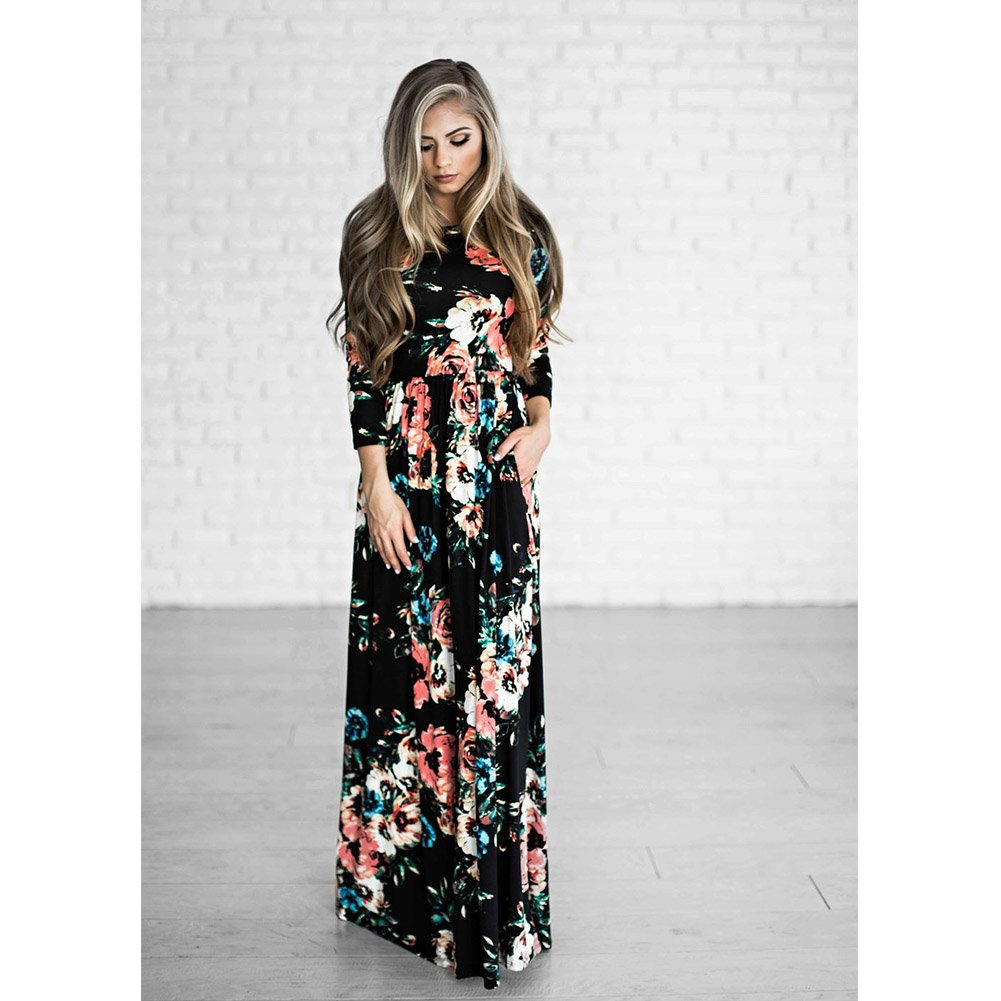 47f6b7ff40 HOOYON Women's Casual Floral Printed Long Maxi Dress with Pockets(S-5XL) at  Amazon Women's Clothing store:
