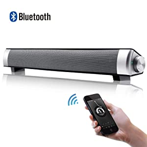 [New 2019 Upgraded] Mini Bluetooth Sound Bar 3D Surround Speaker with Subwoofers Wired & Wireless Long-Standby for TV/PC/Phone/Tablet