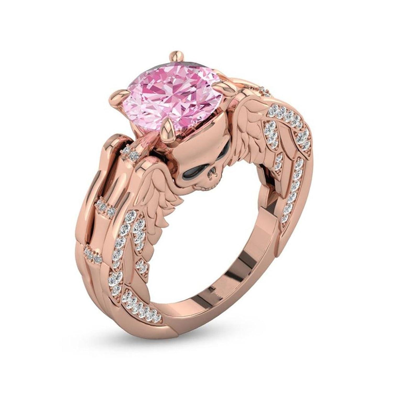 Becoler Creative Valentine Gift Ring kull Ring Rose Gold Diamond Ring