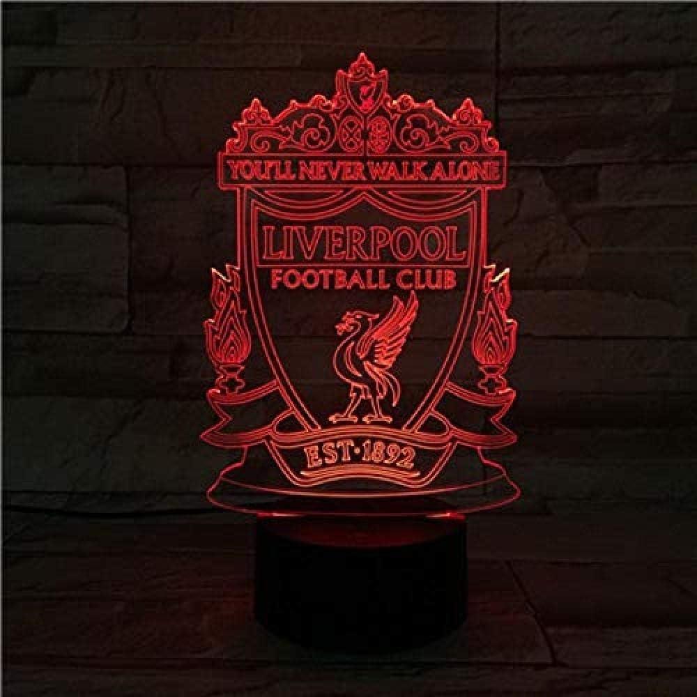 Bluetooth 7 y 16M Colores APLICACIÓN móvil Luz nocturna óptica 3D Visión LED Liverpool Football Club Tienda familiar Ambiente romántico niños amigos regalos de vacaciones