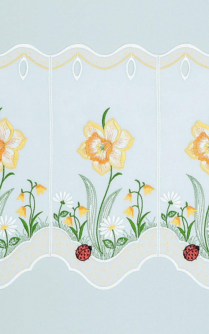Plauener Spitze Spitze Spitze Scheibengardine Osterglocke (Bx H) 144cm  55cm Orange Orangegelb B01E9EEA4O Scheibengardinen & Kurzstores 41a6dd