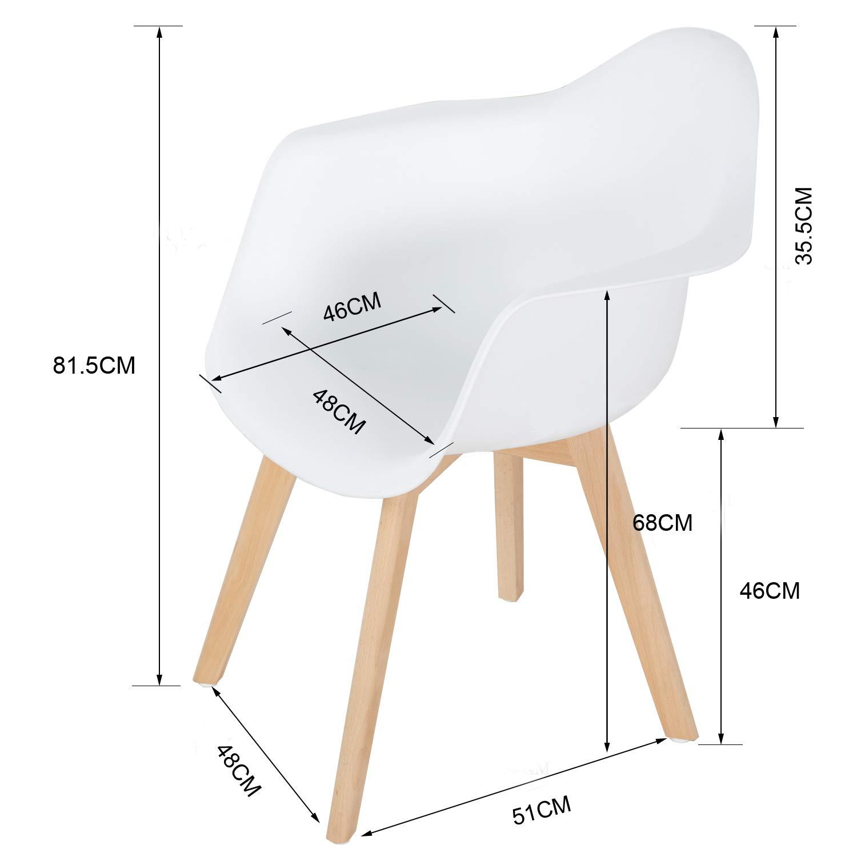 EGGREE 4er Esszimmerstühle Modern 4er EGGREE Set Küchenstuhl Skandinavisch mit Armlehne, Sitz aus Kunststoff, Stabile Holzbein, Weiß 6ebc14
