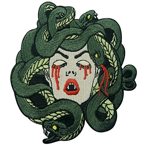 ZEGINs The Bleeding Medusa Embroidered Badge Iron On Sew On -