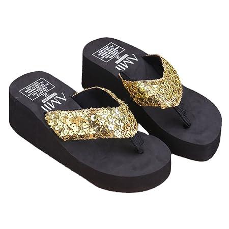 31ce420a53e0 JAGENIE Summer Soft Women Wedge Sandals Sequin Thong Flip Flops Platform  Slippers Gold 39  Amazon.co.uk  Kitchen   Home