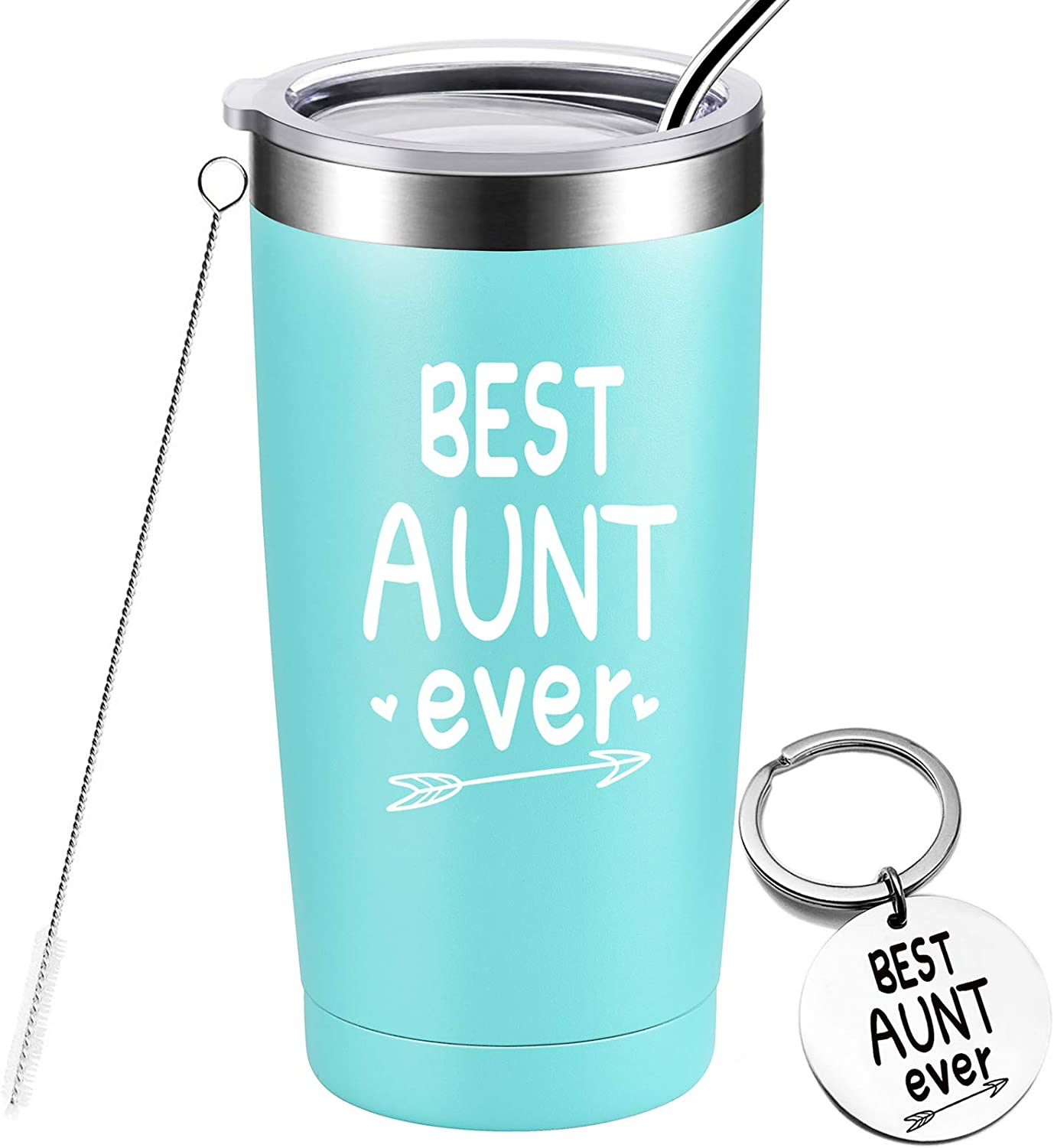 Best Aunt Ever - Birthday Gifts for Aunt from Niece, Nephew, Funny Christmas Gifts for Auntie, Stainless Steel Insulated Tumbler with Keychain, 20 Ounce Mint