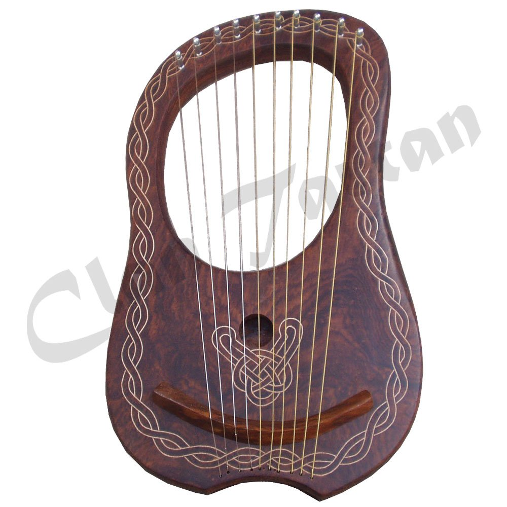 LYRA HARP 10 METAL STRINGS HAND ENGRAVED/LYRE HARP VARIOUS DESIGNS (Natural Piping Harp)