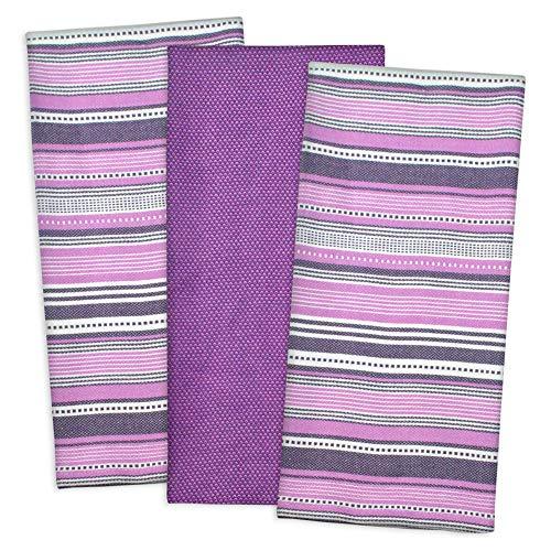 DII 5828 Urban Stripe & Basic Dishtowels, 18x28, Eggplant 3 Piece