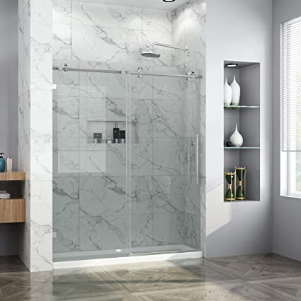 Elegant Showers 60 W X 72 H Frameless Glass Sliding Shower Doors