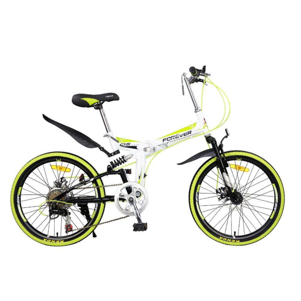 登山 折りたたみ自転車, 大人 折りたたみ自転車 学生 若者 超軽量 ポータブル 7 スピード シマノ 柔らかい尻尾 折りたたみ自転車 B07D2C6FBD 22inch|緑 緑 22inch