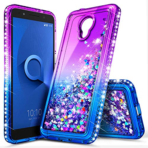Alcatel TCL LX Case (A502DL), Alcatel Avalon V (Verizon Wireless)/1X Evolve/IdealXTRA, NageBee Glitter Liquid Waterfall Floating Sparkle Shiny Bling Diamond Girls Kids Women Cute Case -Purple/Blue
