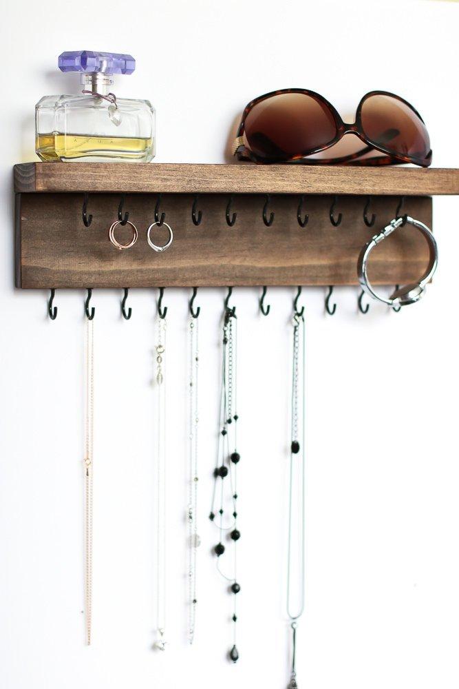Custom Pine Wood Wall Jewelry Organizer with Shelf/Necklace Handmade Holder Hooks Key Hanging Stand Rustic Decor/Best gift idea