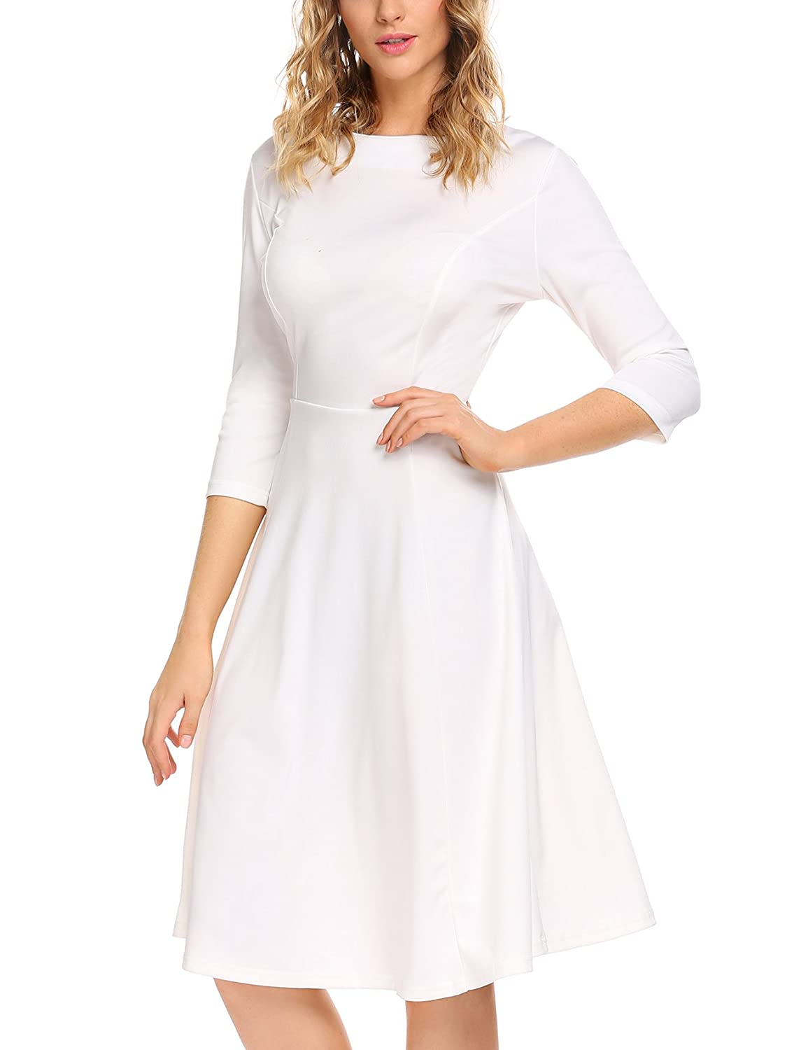 0a9bbc3b01 Feature:Rounded neckline/3/4 Sleeve/A-line Design/Knee Length/High  Elasticity/Solid color/Swing Hem. Material: 95% rayon and 5% spandex,The  stretchy fabric ...