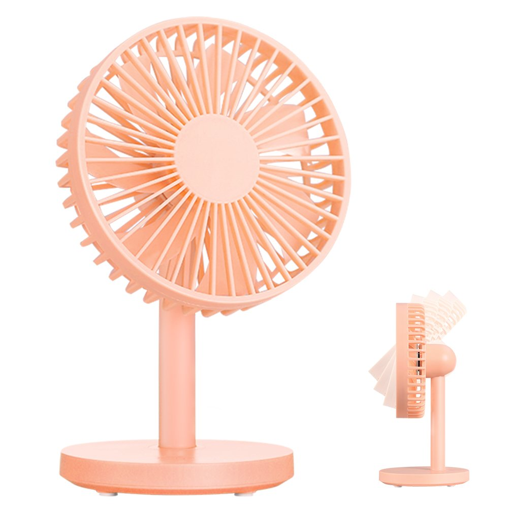 OURRY Desk Fan, Small Mini USB Table Desk Desktop Personal Fan, Quite Operation, 3 Speeds, High Compatibility, Cooling for Home, Office (Pink)