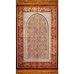 Prayer Rug - Plush Velvet VERY SOFT Muslim Turkish Janamaz Sajadah Gold Floral