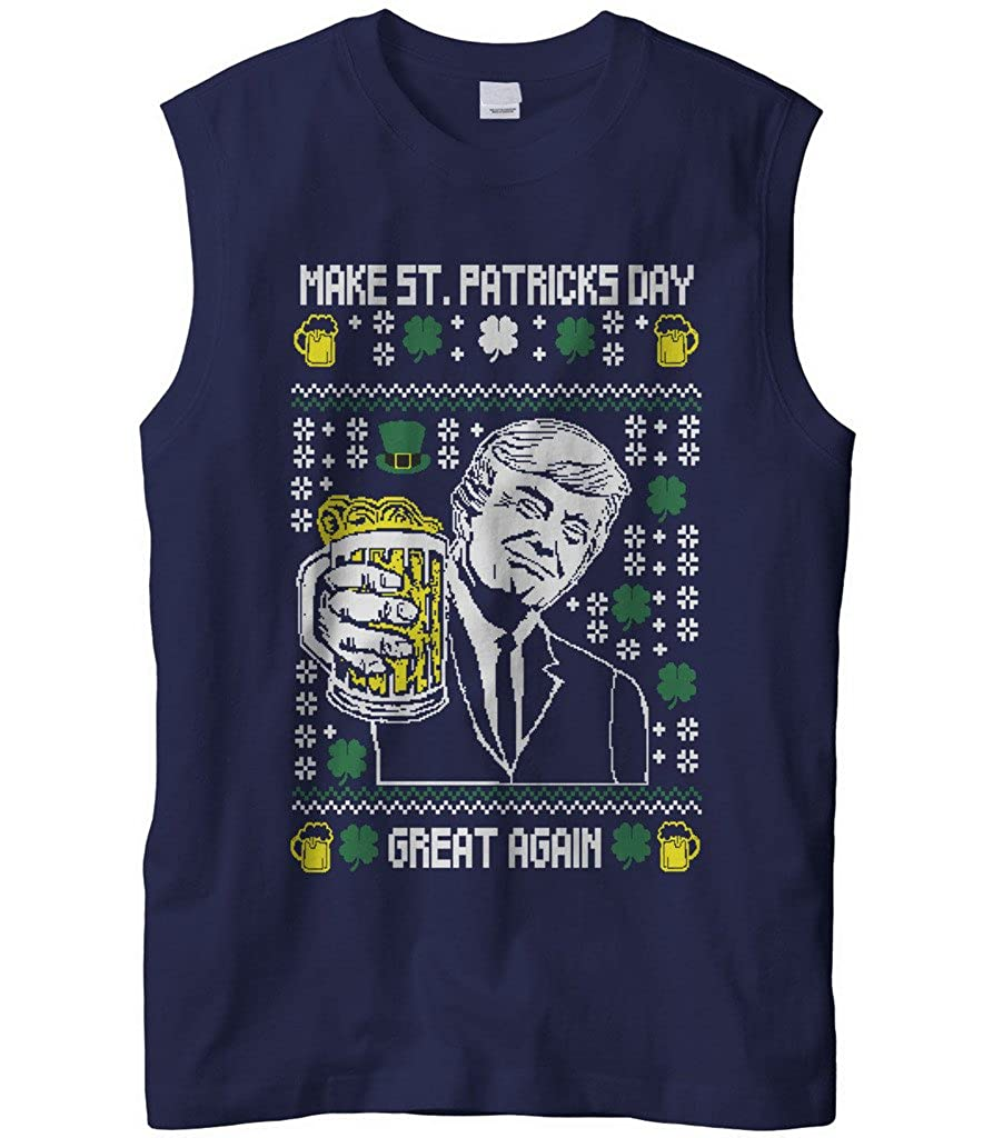 Cybertela Mens Digital Trump Make ST Patricks Day Great Again Sleeveless T-Shirt