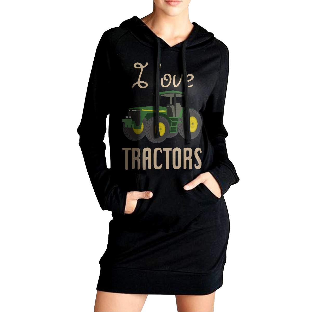 Love Tractors Sweater with Kanga Pocket Womens Pullover Sweatshirt Long Hoodie Dress
