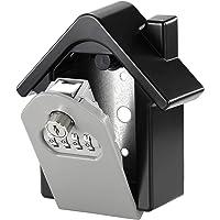 COMLIFE Caja de Candado de Seguridad para Llaves Cerradura de Combinación de 4 Dígitos Reajustable con Llave Montada en la Pared para Casa, Empresa, Depósito de Garaje - Negro