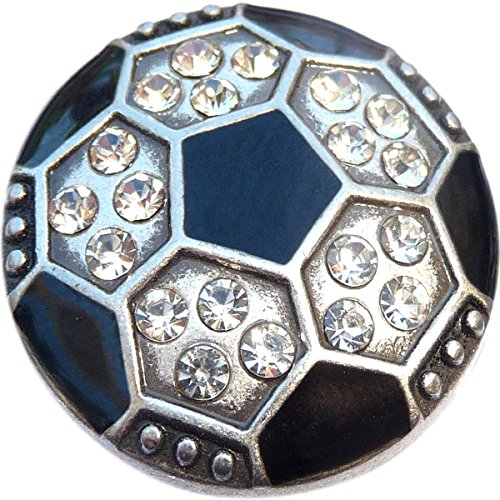 Bling Soccer Ball Snap Charm (Standard 18mm Size)