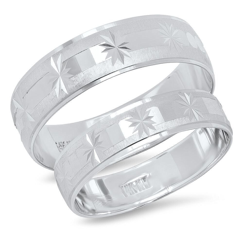 14K Solid White Gold His & Her's Matching Satin Snowflake Design Wedding Band Ring Set (Choose a Size)