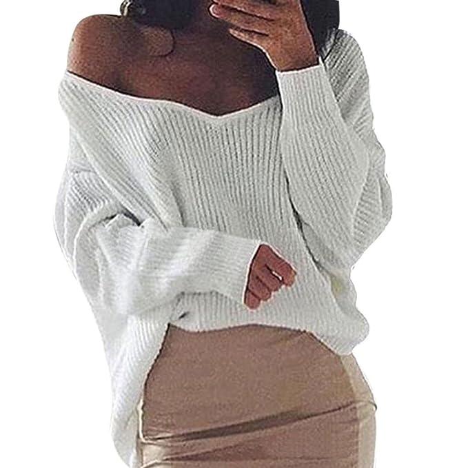 AmazingDays Las Mujeres De Moda De Manga Larga SóLida De Tejer SuéTer Caliente Jersey Irregular Blusa