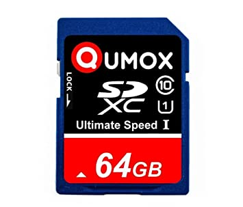 QUMOX 64GB Tarjeta SDXC de Memoria de clase 10 UHS-I, Alta Velocidad, Velocidad de escritura de hasta: 40MB/S, Velocidad de leído de hasta: 80MB/S
