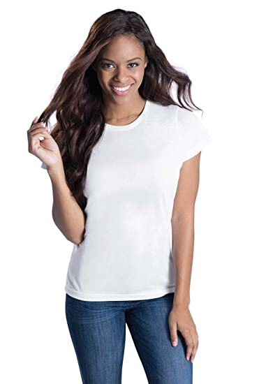 5efff4ba Amazon.com: Sublivie Ladies' Modern Fit 100% Polyester Crew Neck Short  Sleeve Sublimation Tee: Sports & Outdoors
