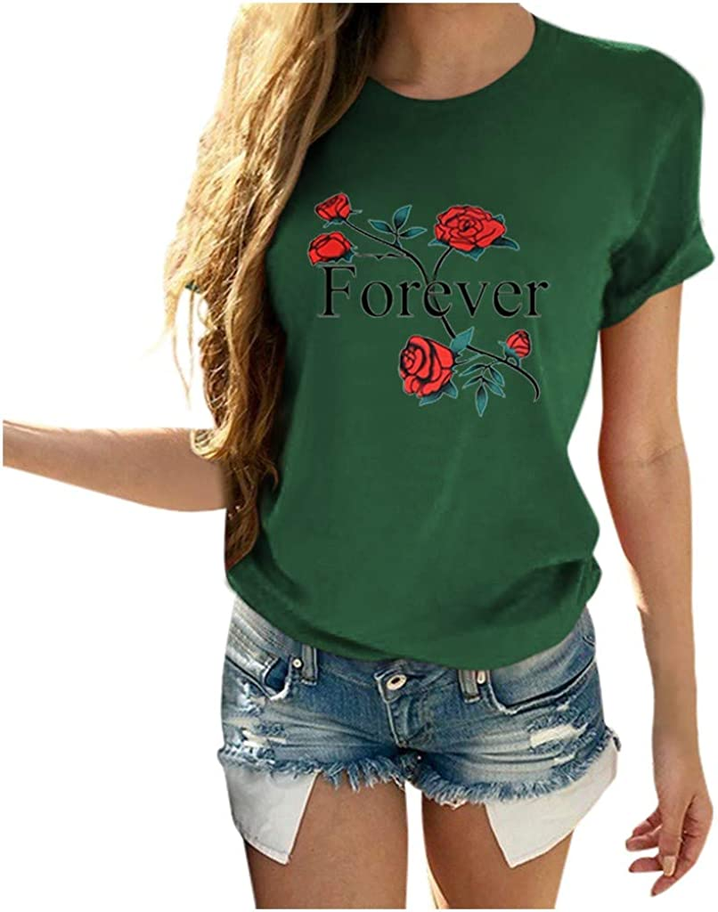 iQKA Womens Valentines Day Forever Letters Rose Printed Crew Neck Short Sleeve T Shirts Casual Blouses Tops