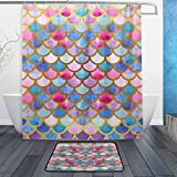 ALAZA Set of 2 Colorful Mermaid Scale 60 X 72 Inches Shower Curtain and Mat Set, Ocean Sea Animal Mermaid Waterproof Fabric Bathroom Curtain and Rug Set with Hooks