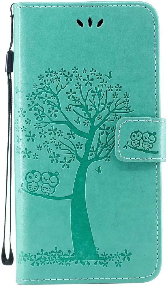 Galaxy A50 Premium PU Leather Wallet Case Samsung Galaxy A50 Flip Case Owl Tree Pattern Full-Body Protective Cover for Samsung Galaxy A50 Blue
